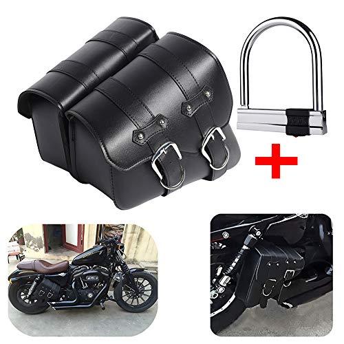 1 par de Lado de la Motocicleta de la silla de Montar a Prueba de Agua de la PU de Cuero Moto lado Equipaje Negro