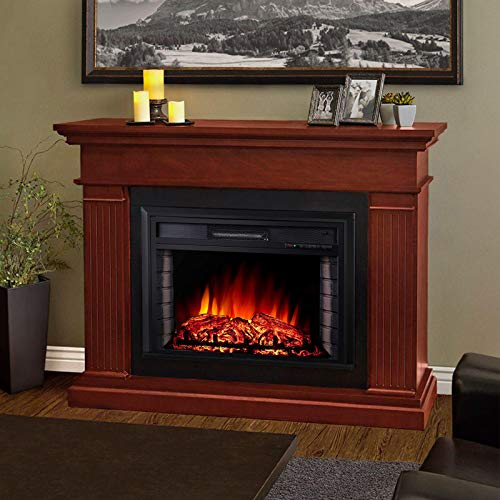 DKIEI Wall Mounted Fire Electric Fireplace Suite with Remote Control Resin Log Fuel Flame Effect, Fake Brick Wall Design Decor Insert Fireplace, Black