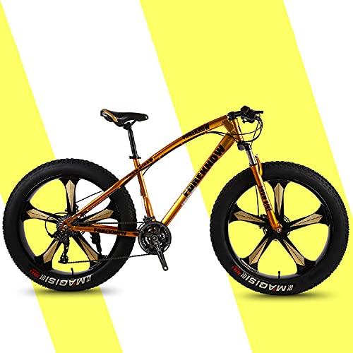 SHUI 26'' Bicicleta De Montaña con Neumáticos Gordos para Hombre, Marco De Acero con Alto Contenido Carbono, Velocidad 7/21/24/27/30, Neumáticos con Nudos Anchos De 4.0, Gold-30sp