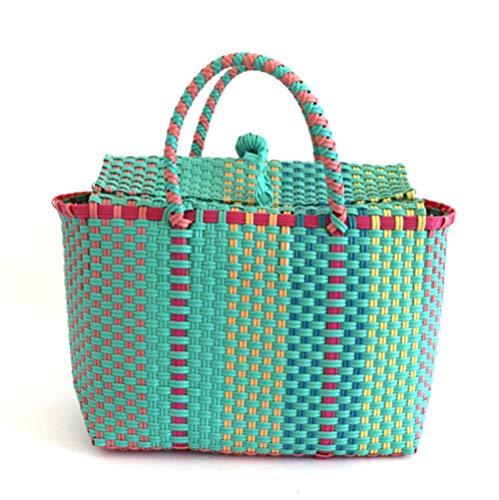 XFYS Mujeres durables Bolsas de Playa Tejidas para Mujeres Bolsa de cucharón Tejido Ocio para Mujer Bolso de Mano Bolsa de Paja de Almacenamiento Cesta Tejida de plástico-Verde