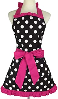 CWeep Red Retro Kitchen Aprons, Woman Girl Lovely Sweetheart Cotton Polka Dot Cooking Salon Pinafore Vintage Apron Dress Christmas. Sweetheart (Rose)