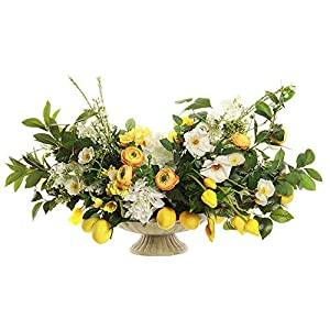 23″ Hx39 W Silk Peony, Rose, Rulip, Ranunculus Flower & Lemons Arrangement w/Cement Plate -Yellow/White