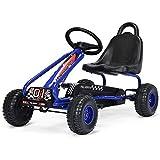 COSTWAY Go Kart Coche de Pedal Go Kart para Niños con Asiento Ajustable y Freno de Mano Infantil Juguete Carga hasta 30kg (Azul)