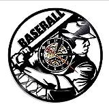 Relojes De Pared Reloj De Béisbol Decoración De Pared Base Ball Equipo Jugador Disco De Vinilo Reloj De Pared Aficionado Al Béisbol Idea De Regalo Softbol Disco De Vinilo Arte De La Pared
