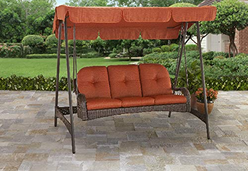 Better Homes & Gardens* Azalea Ridge 3-Person Porch Swing with Canopy in Burnt Orange