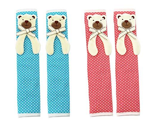 Kefan 2 Paar Kühlschrank-Türgriffabdeckungen, Küchengeräte, Schutzhandschuhe, Anti-Rutsch-Dekor für Backofen, Mikrowelle Bär rosa+blau