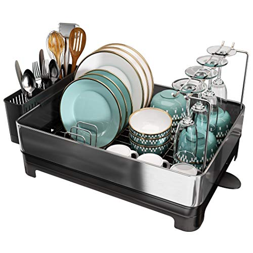 Stainless Steel Dish Drying Rack, Large Dish Rack and Drainboard Set, Full Size Dish Drainer with Swivel Spout, Utensil Holder and Wine Glasses Holder for Kitchen Counter(Silver)