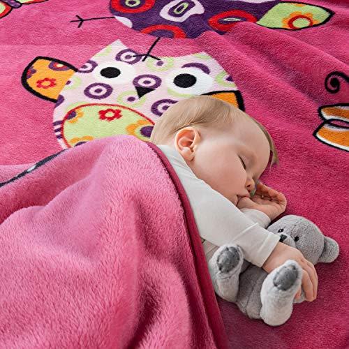 Paco Home Decke Kinderdecken Niedliche Eulen Pink Fuchsia Kuscheldecke Spieldecke, Grösse:155x215 cm