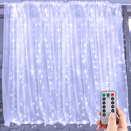 Hanging Window Curtain Lights 9.8 Feet Dimmable, Connectable with 300 Led, Remote, 8 Lighting Modes, Timer for Bedroom Wall Party Indoor Outdoor Decor, Pure White (Curtain is Not Included)