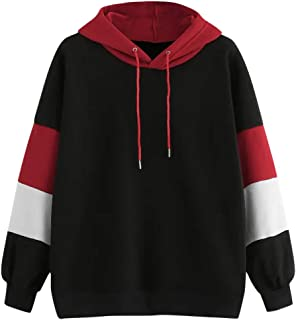 LOPELY Womens Patchwork Striped Hoodie Sweatshirt Casual Active Outdoor Soft Hoodie Ladies Hooded Top Hoody Plus Size