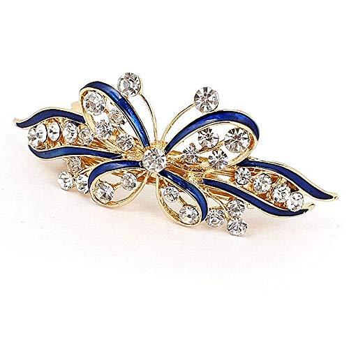Pince à cheveux en forme de papillon pour mariage - Avec strass - Pour femmes et filles