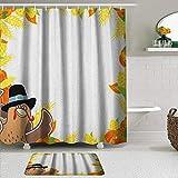 Set tenda per doccia 2 pezzi con tappetino da bagno antiscivolo,Ringraziamento divertente cartone animato disegno mais e zucca cornice rurale raccolt,12 ganci,Decorazioni per il bagno personalizzate