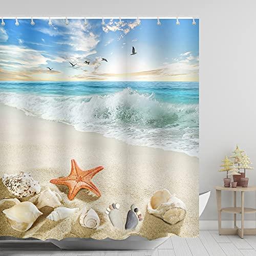 ABxinyoule Starfish Beach Theme Shower Curtain Seashell Conch Shell Fabric Blue