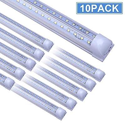 8FT LED Shop Light Fixture, 10 Pack T8 Integrated LED Tube Lights, 72W 9500LM 6500K High Output Clear Cover, V Shape 270 Degree LED Lighting for Garage Warehouse, Upgraded Shop Lights Plug and Play