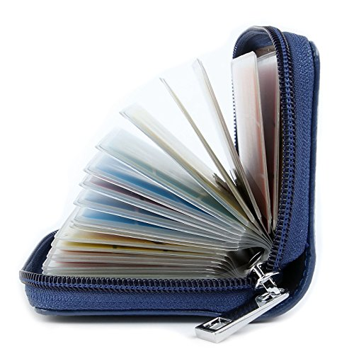 Tarjeteros Mujer Piel Tarjeteros para Tarjetas de Credito Cuero (Azul)