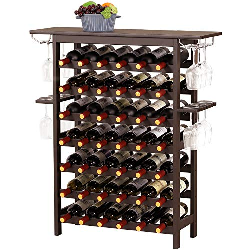 Bamboo Wine Rack with Wood Table Top 7-Tiers Free Standing Floor 49 Wine Bottles Storage Shelves Holder Rack Display Shelf for Home Mini Bar, Living Room, Kitchen or Dining