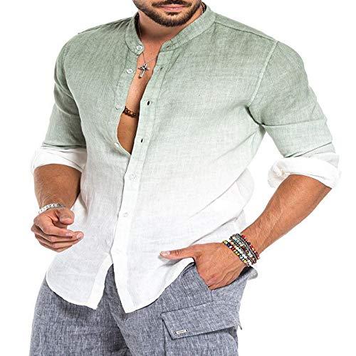 Hemd Herren-Leinenhemd Langarm-Herren-Freizeithemd Leinen-Farbverlauf-Langarm-Mode-Stehkragenhemd XL-Grün Im Europäisch-Amerikanischen Stil