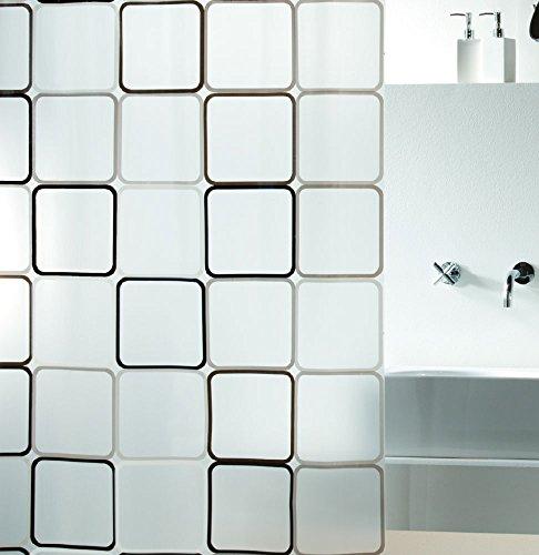Spirella Anti-Schimmel Duschvorhang Frame Anti-Bakteriell, Waschbar, Wasserdicht PEVA 180x200cm Durchsichtig