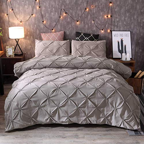 Duvet cover, linen pinch pleated fine pleated bedding set, with pillowcase, super soft and comfortable duvet cover, for family hotels