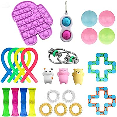 24 Pcs Fidget Toy Set, Cheap Fidget Toy Pack, Fidget Set with Stress Ball Marble Mesh Push Pop Bubble Fidget Sensory Toy (25Pcs Purple Among+Dimple B)