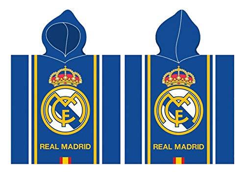 Real Madrid Poncho Playa Algodon Toalla Tiempo Libre y Sportwear Infantil, Juventud Unisex, Multicolor (Multicolor), Talla Única