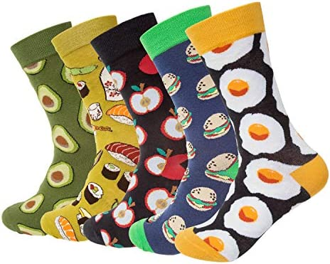 5 6 Pairs Womens Funny Socks Colorful Novelty Dress Socks for Women A 5 pair product image