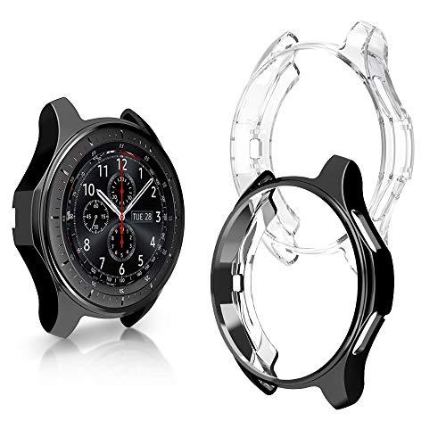 Schutzhülle für Samsung Galaxy Smart Watch 46 mm, für SM-R805, SM-R800, S3 Frontier SM-R765A, R760, Flexibles TPU, stoßfest, 2 Stück, Black and Clear