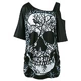 MERICAL T-Shirt en Coton avec tête de Mort, Style Femme et Manches Courtes (XL, Noir-ZZ)
