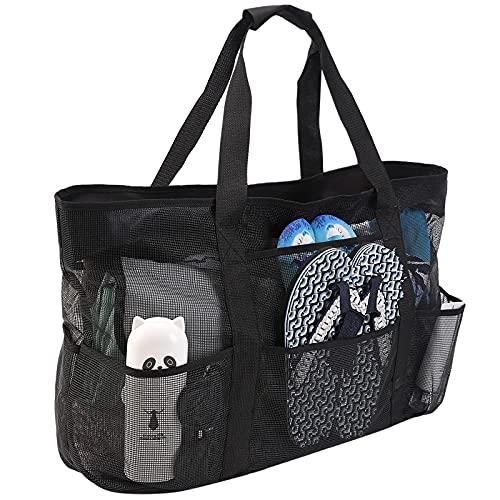 Bolsa de playa, extra grande, para mujer, impermeable, resistente al arena, bolsa de playa de malla, bolsa de playa, productos esenciales para la playa, color negro