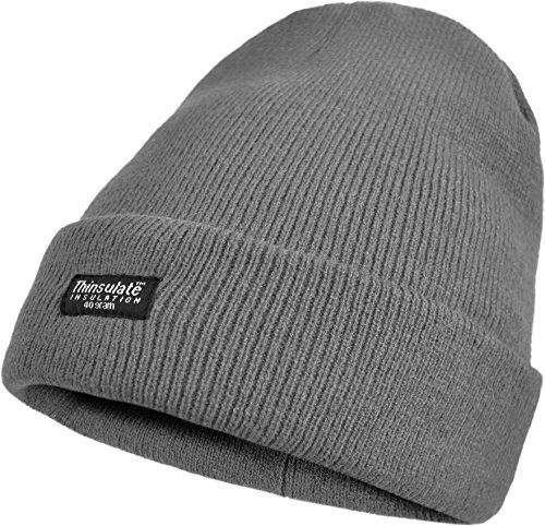normani Thinsulate Mütze für Damen und Herren Schwarz Farbe Grau