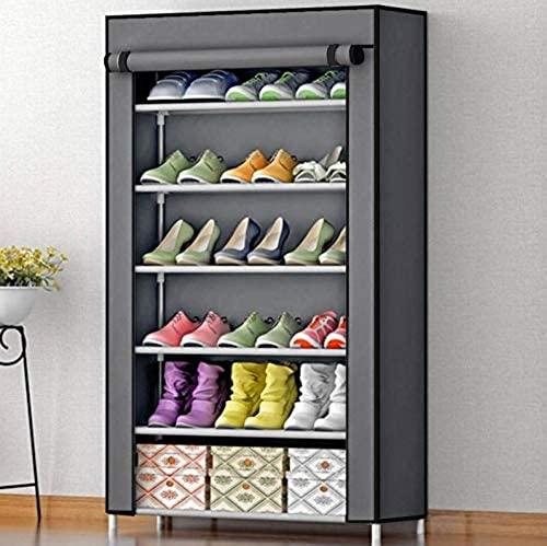 AYSIS Multipurpose Portable Folding Shoes Rack 6 Tiers Multi Purpose Shoe Storage Organizer Cabinet Tower with Iron and Nonwoven Fabric with Zippered Dustproof Cover 6 Grey Shoes Rack for Home