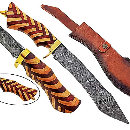 Damascus Steel Hunting Bowie Knife-Fixed Blade Knives with Sheath - Hunting Knife with Beautiful Wood Handle Brass Guard – Hand Made Damascus Knife for Hunting, Camping. Survival and Tactical(CW)