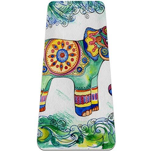 Esterilla Yoga Mat Antideslizante Profesional - arte indio tribal floral elefante arte - Colchoneta Gruesa para Deportes - Gimnasia Pilates Fitness - Ecológica