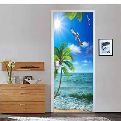 WISOEEP Self-Adhesive Door Sticker 3D Seaside View Coconut Tree Mural Wallpaper Living Room Bedroom Creative Door Wall 3D Stickers Decal