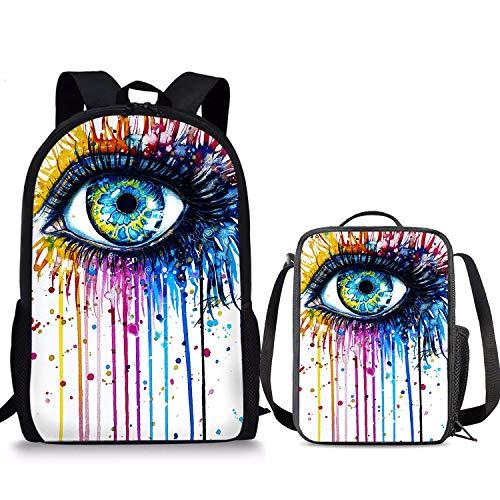Lot de 2 sacs à dos avec motif œil coloré 43,2 cm, sac à déjeuner pour enfants, pour garçons et filles