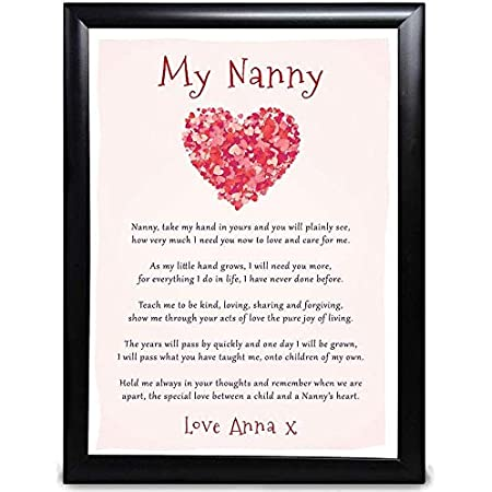 Personalised 1st First Mothers Day Gifts from Grandchild Nanny and Grandson Granddaughter With Grey Bag New Nanny Wooden Heart Plaque First Mothers Day As My Nanny Gifts