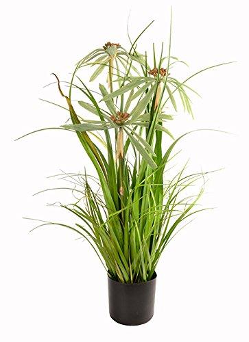 SPORT-LINE Planta Artificial de 76 cm, Hierba Decorativa, Planta Artificial, arbusto, Maceta Swan de 76 cm – II