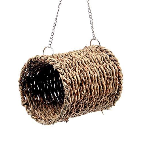STOBOK Tejido de Paja Pájaro Túnel Seagrass Pájaro Hámster Tienda Acurrucable Juguete Colgante Hamaca Nido para Loro Cockatiel Perico Rata Conejillo de Indias Chinchilla Erizo