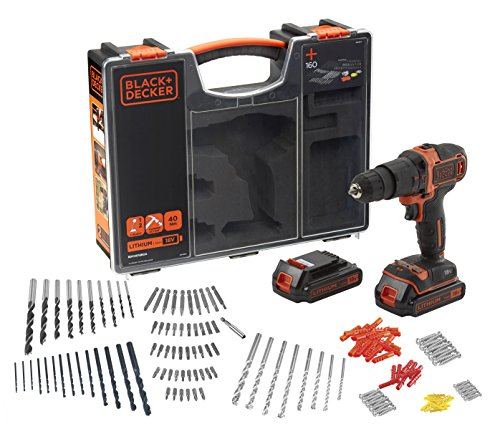 BLACK+DECKER BDCHD18BOA-QW Drill/Impact Driver with Dual Battery in Premium Case and 160 Accessories, 1.5 Ah, 81 W, 18 V, Variable Speed 0-360/0-1400 RPM