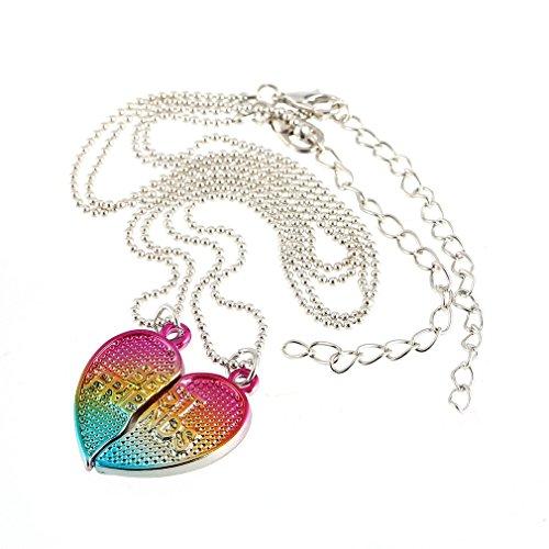 2 PCS gradiente de Colores Creativo BFF del Collar del corazón Mitad Mejor...