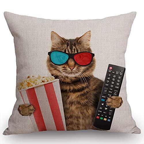 Funny Cat in the - Funda de cojín con diseño de gato en el 3D con cesta de palomitas de maíz, algodón, arpillera, lino, funda de cojín, sofá decorativo al aire libre, 45,7 x 45,7 cm