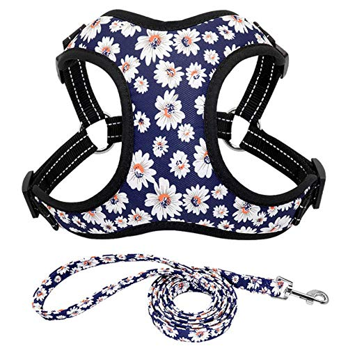 Dog Leash Fashion Printed Nylon Dog Harness Vest Reflective No Pull Dog Harness Leash Set for Small Medium Dogs Cats French Bulldog