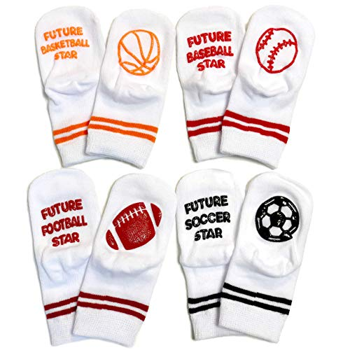 Baby Socks Gift Set - Baby Shower New Born Gift For Boy Or Girl - 4 Pairs of Cute Baby Future Sports Star Socks In Gift Box - FUTURE - Football Star, Basketball Star, Soccer Star, Baseball Star