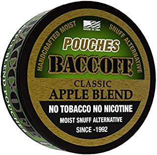 BaccOff, Classic Apple Blend Pouches, Premium Tobacco Free, Nicotine Free Snuff Alternative (10 Cans)