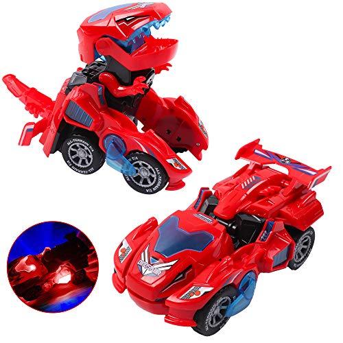 DigHealth Coches de Juguete Transformando Dinosaurio, Coche de Deformación de Dinosaurio con Luces de Colores LED, Música y Rueda Universal, Regalo de Cumpleaños Navidad para Niños 3 a 10 Años