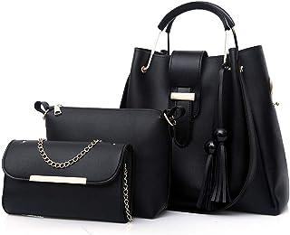 Remanlly 3PC Women's Outdoor Solid Color Leather Handbag Messenger Bag Tote Bag Coin Purse Mobile phone bag