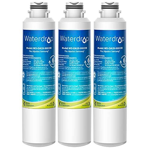 Waterdrop DA29-00020B Samsung Water Filter for Refrigerator, Replacement for DA29-00020A/B, HAF-CIN/EXP, DA29-00020B-1, RF25HMEDBSR, RF28HMEDBSR, RS25J500DSR, RF263BEAESR&More Models, 3 Carbon Filters