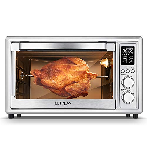 Ultrean Air Fryer Toaster Oven Combo, 32 Quart Convection Oven Countertop with Rotisserie, Toaster, Dehydrator, Bake, 7 Accessories & 50 Recipes, Silver