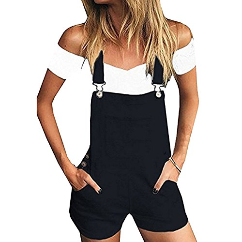 Heflashor Damen Kurz Jeanslatzhose Sommer Denim Overall Kurz Jumpsuit Playsuit Jeans Latzshorts Hosenanzug Romper Destroyed Playsuit Hotpants
