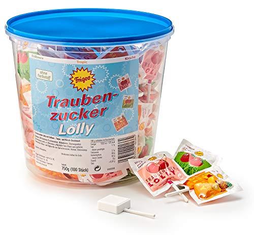 Frigeo Traubenzucker-Lolly in drei Geschmacksrichtungen: Erdbeer, Tropic und Kirsch, 100 Stück im Eimer (750 g)